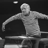 Leonard Bernstein conducting an Amnesty International concert in 1976. (AP Photo/Dieter Endlicher/AP)