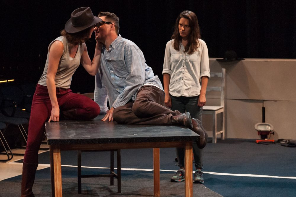 """Kelley Curran, Eric Tucker and Susannah Millonzi in Bedlam's """"Twelfth Night."""" (Courtesy A.R. Sinclair Photography)"""