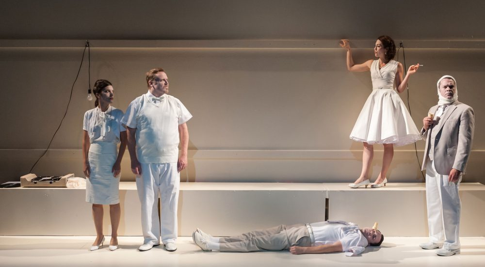 """Susannah Millonzi, Edmund Lewis, Eric Tucker (on floor), Kelley Curran and Tom O'Keefe in Bedlam's """"What You Will."""" (Courtesy A.R. Sinclair Photography)"""