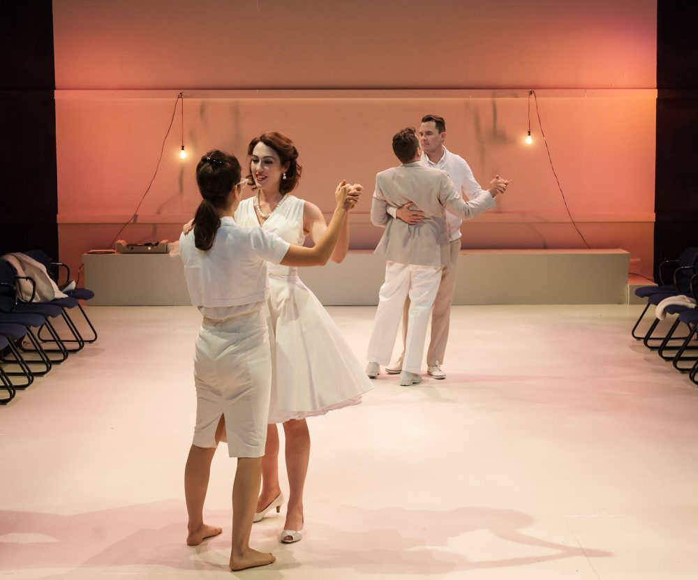"""Susannah Millonzi, Kelley Curran, Tom O'Keefe and Eric Tucker in Bedlam's """"What You Will."""" (A.R. Sinclair Photography)"""