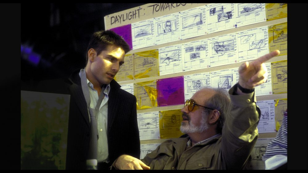 "Tom Cruise and Brian De Palma on set of ""Mission: Impossible."" (Courtesy A24)"