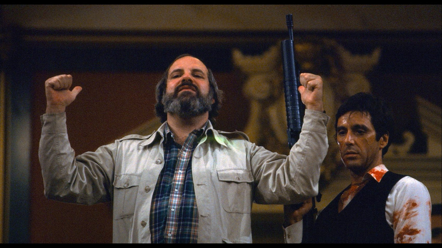 "Brian De Palma and Al Pacino on set of ""Scarface."" (Courtesy A24)"