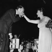 Conductor Erich Leinsdorf acknowledges soloist Phyllis Curtin onstage at Tanglewood's Koussevitzky Music Shed in 1965. (Courtesy Heinz-Weissenstein/BSO)