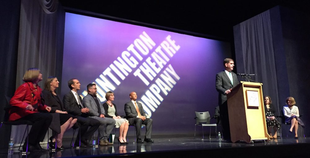 Boston Mayor Marty Walsh announces an agreement to let the Huntington Theatre Company retain control of its theater.  (Jeremy D. Goodwin for WBUR)