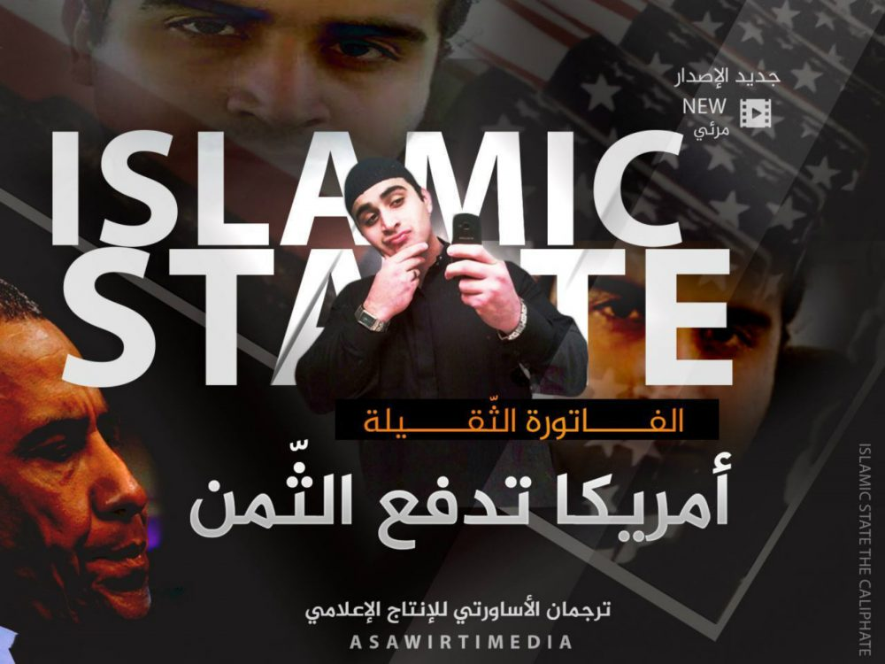"""This poster, distributed by an Islamic state militant supporter to advertise a new propaganda video, shows Omar Mateen who killed 49 people at the Pulse nightclub in Orlando, Florida, with 'Islamic State' blazoned behind him. It took just a few hours for the Islamic State group's opportunistic propaganda machine to take responsibility for the latest bloodshed in Florida, with messages claiming the attacker as its own. It may take the group longer to sort through the implications of a killer whose backstory of conflicted sexuality and heavy drinking is at odds with a carefully crafted public image of its fighters. Arabic reads: """"The large bill. America is paying the price."""" (Militant Media Arm via AP)"""