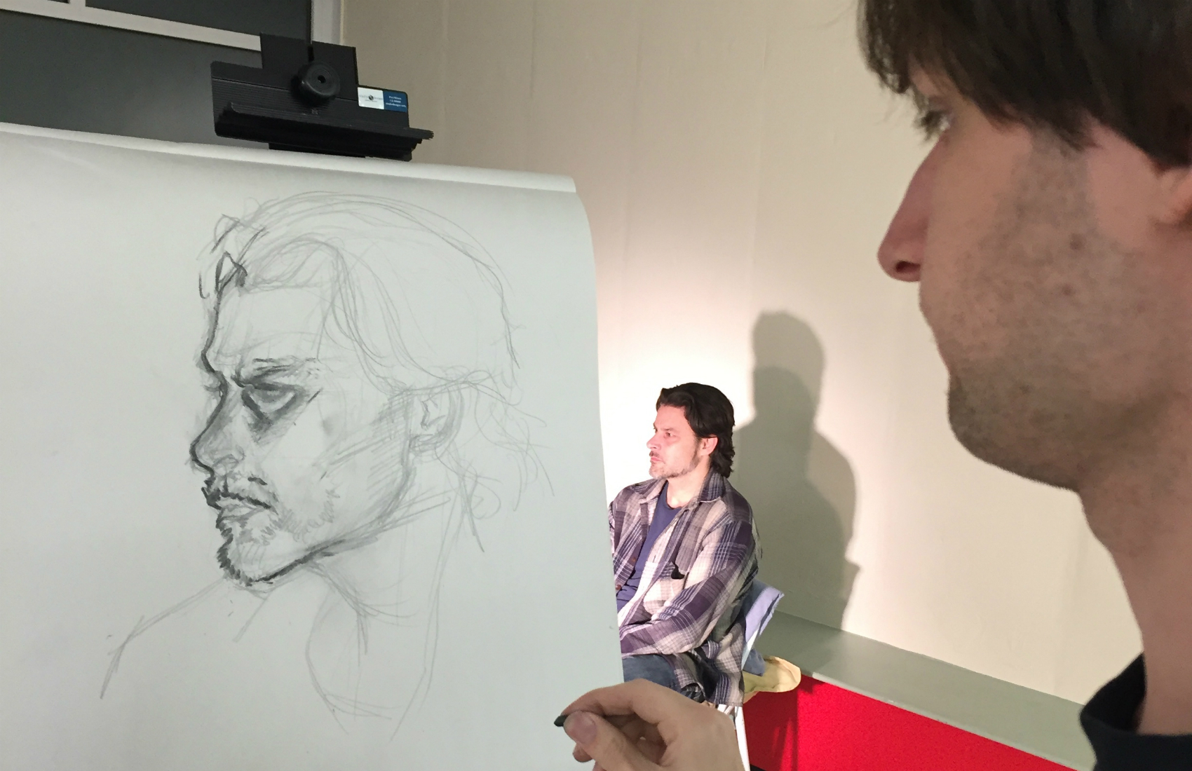 Student Ben Goodwin sketches model Ernesto Brosa in the author's figure-drawing class, taught through Harvard University's Office for the Arts. (Heddi Vaughan Siebel/Courtesy)