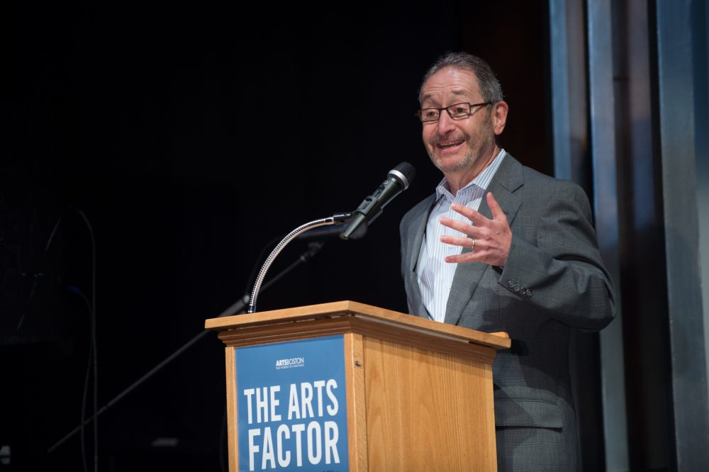 Michael Maso, the Huntington Theatre's managing director, at a 2015 ArtsBoston presentation. (ArtsBoston/Flickr)