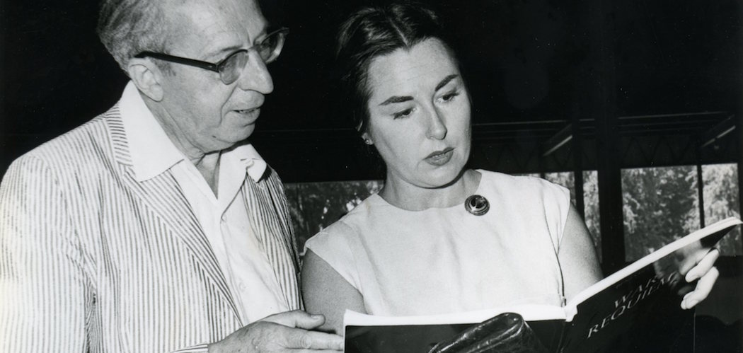 "Famed soprano soloist and educator Phyllis Curtin died Sunday. Here, she's seen with Aaron Copland at Tanglwood in 1963, consulting the score of Benjamin Britten's ""War Requiem."" (Courtesy Heinz Weissenstein/BSO)"