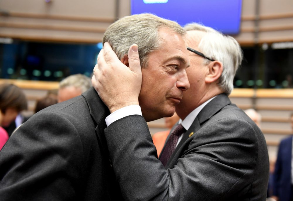 Britain's Leave campaign peddled lies to voters who chose Brexit first and asked questions later. Janna Malamud Smith says U.S. voters can forestall such turmoil by seeing through the lies our own politicians tell. Pictured: European Commission President Jean-Claude Juncker, right, greets UKIP leader Nigel Farage during a special session of European Parliament in Brussels on Tuesday, June 28, 2016. EU heads of state and government meet Tuesday and Wednesday in Brussels for the first time since Britain voted to leave the European Union, throwing British and European politics into disarray. (Geert Vanden Wijngaert/AP)