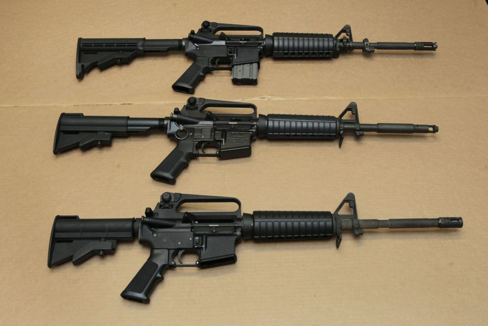 Three variations of the AR-15 assault rifle are displayed at the California Department of Justice in Sacramento, Calif. (Rich Pedroncelli/AP)