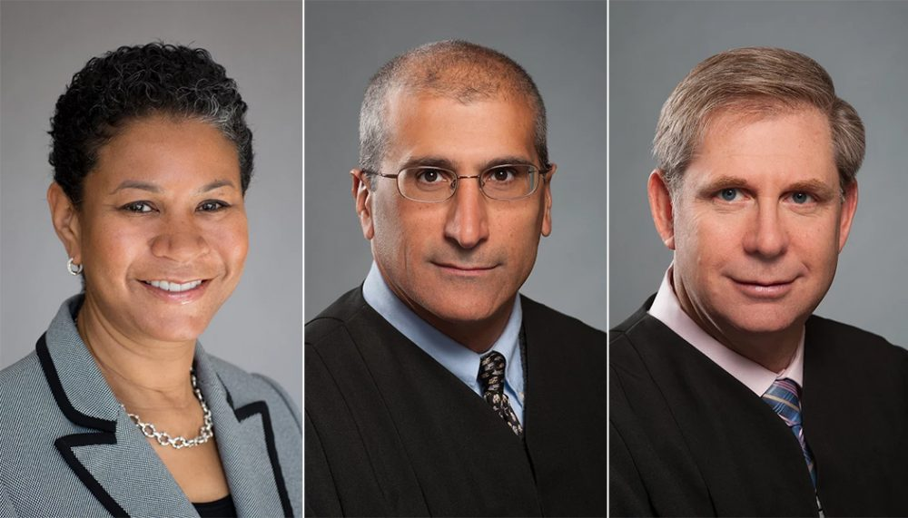 From left: Judges Kimberly Budd, Frank Gaziano and David Lowy (Courtesy of the governor's office)