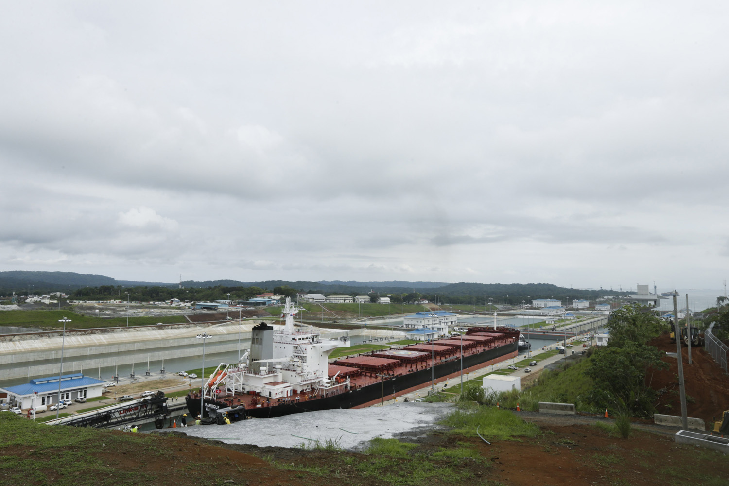 The Malta flagged cargo ship named Baroque, a post-Panamax vessel, navigates the Agua Clara locks on the second test day of the newly expanded Panama Canal in Agua Clara, Panama, (Arnulfo Franco/AP)