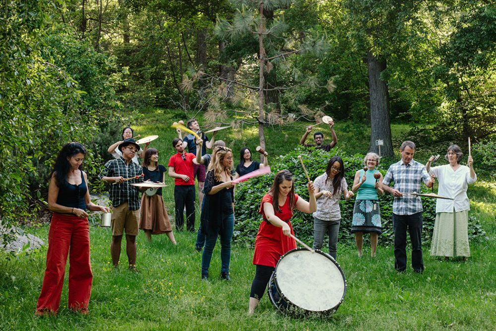 "Kadence Arts group performs composer John Luther Adams' ""Inuksuit"" at Boston's Arnold Arboretum. (Courtesy Kadence Arts)"