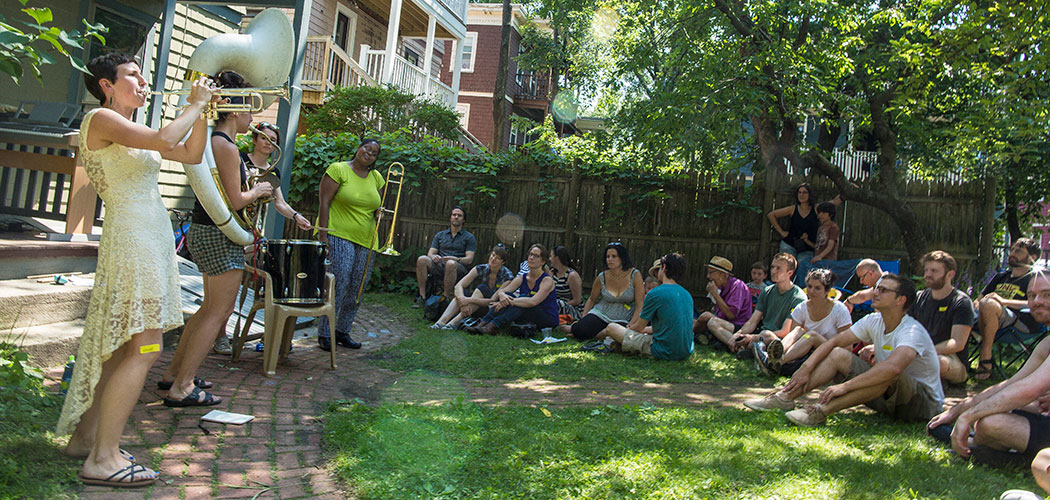 At the 2015 Jamaica Plain Porchfest, Boycott performs. (Leonardo March)