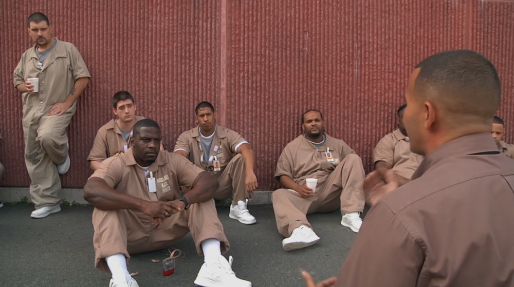 Louie speaking to inmates about his story in the documentary, Beyond The Wall. (Courtesy Northern Light Productions)
