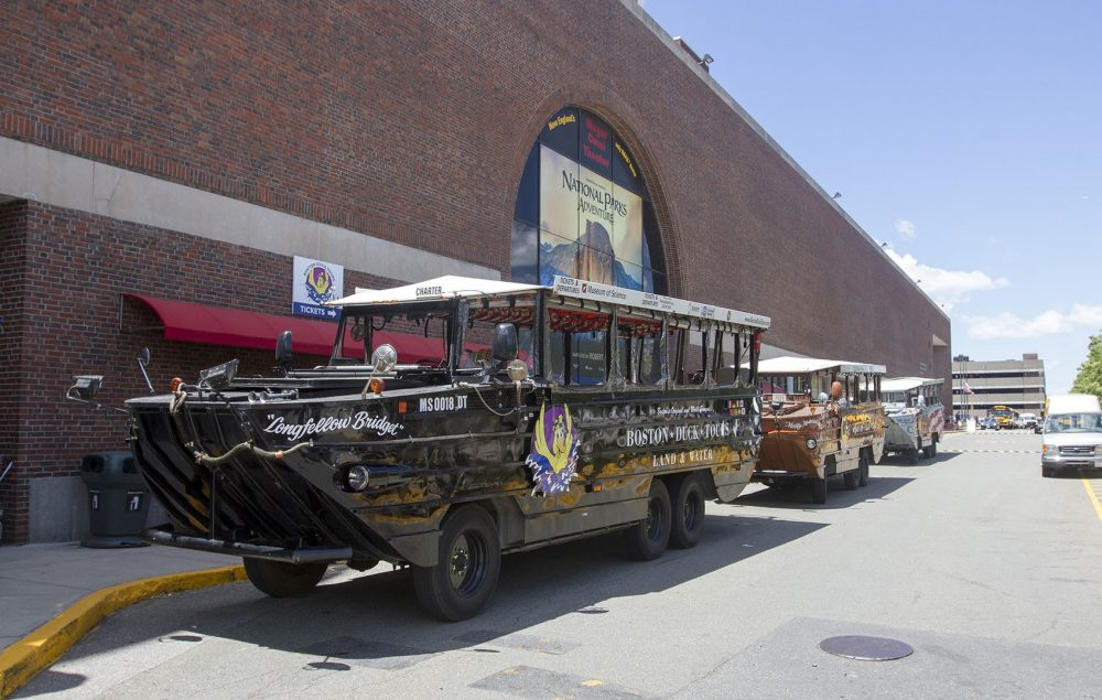 Duck boats are lined up at the Museum of Science in June. (Joe Difazio for WBUR)