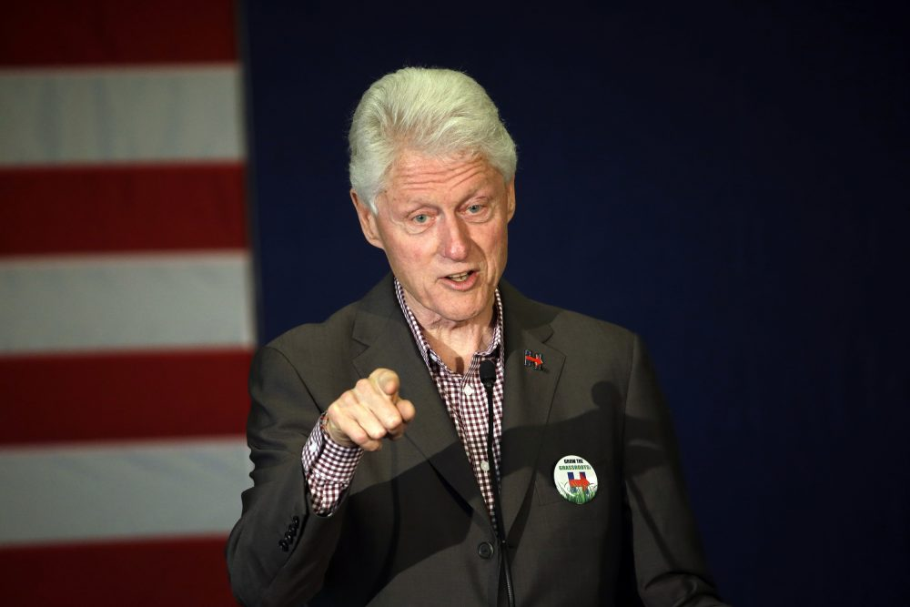 Former President Bill Clint speaks in Portland, Oregon while campaigning for his wife, Democratic presidential candidate Hillary Clinton, on May 5, 2016 (Don Ryan/AP)