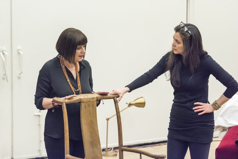 "Eve Ensler talking with A.R.T. artistic director Diane Paulus in a rehearsal for ""In the Body of the World."" (Courtesy Ashley Garrett/A.R.T.)"