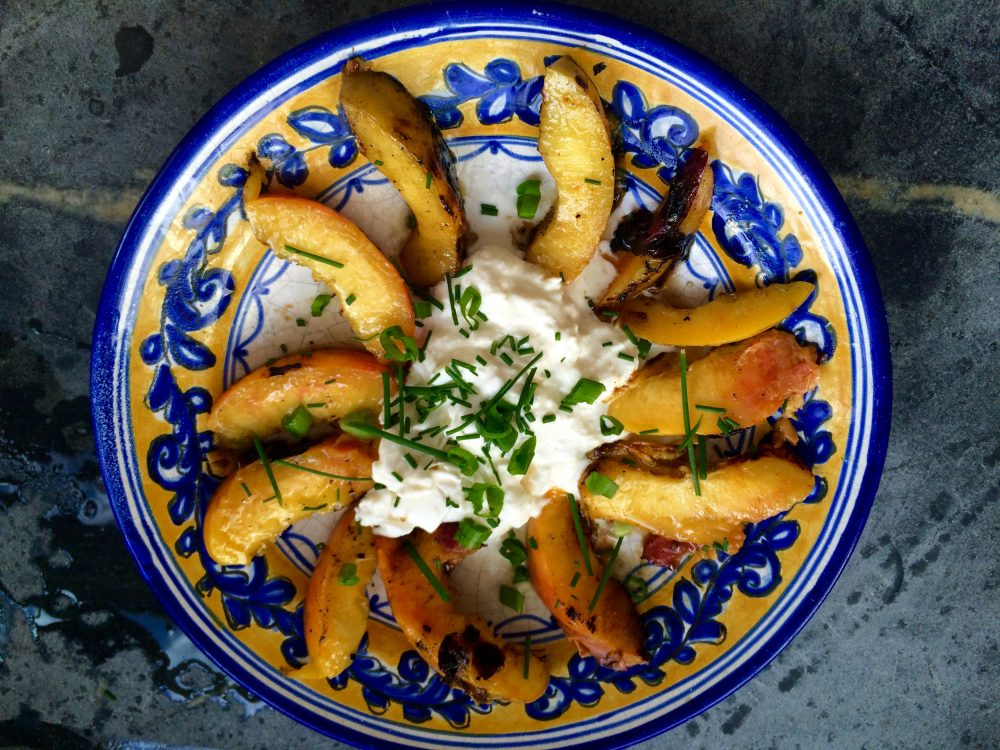 Kathy Gunst's grilled peaches and burrata. (Kathy Gunst for Here & Now)