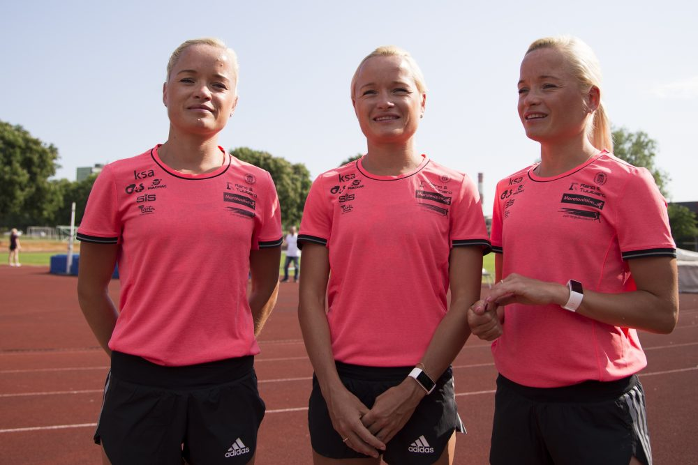 Estonian athletes, sisters Liina, left, Leila, center, and Lily Luik will be the first triplets to compete in the Olympics. (Vitnija Saldava/AP)