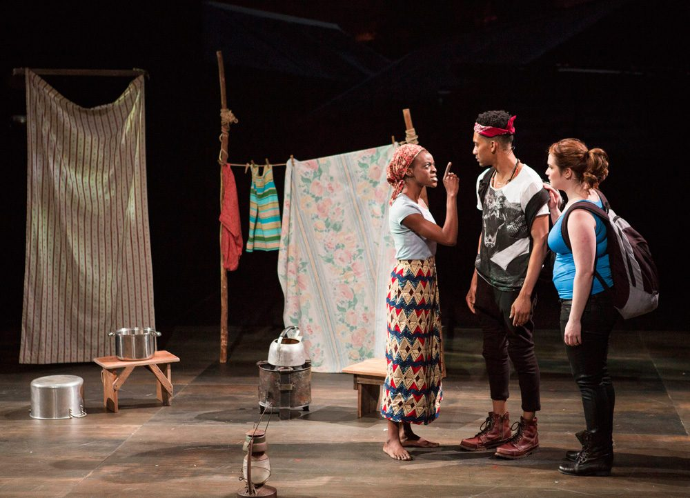 "From left to right: Adeola Rola, Griffin Matthews and Emma Hunton appear in ""Witness Uganda."" (Courtesy Gretjen Helene/A.R.T.)"
