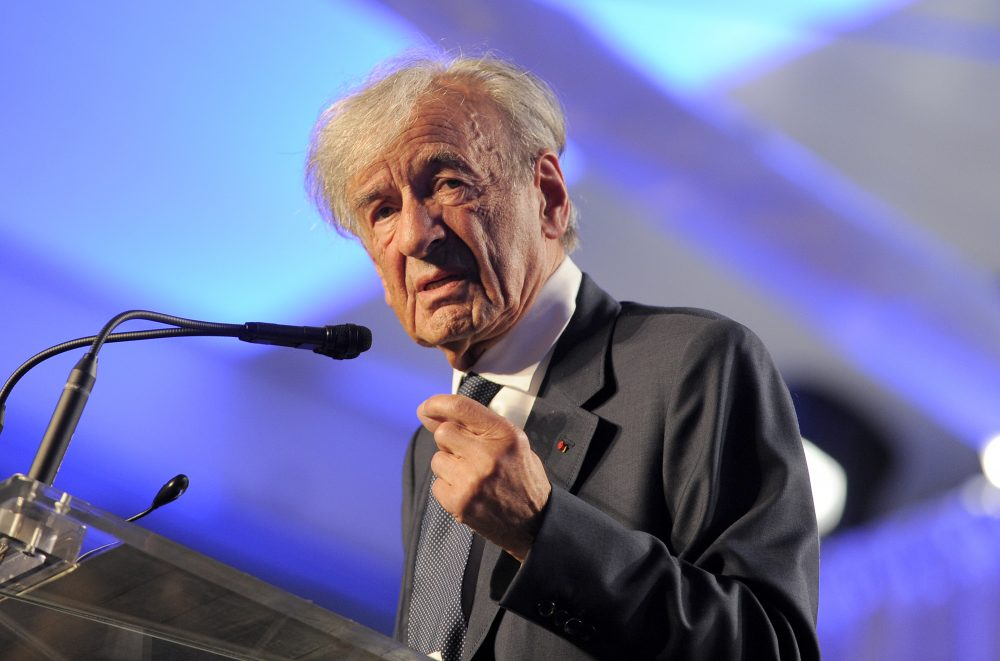 Elie Wiesel, founding chairman of the US Holocaust Memorial Museum, speaks during a ceremony to celebrate the museum's 20th anniversary in Washington, DC on April 29. 2013. (JEWEL SAMAD/AFP/Getty Images)