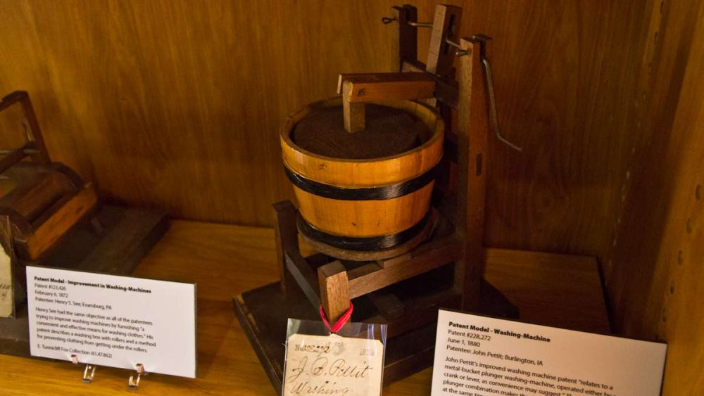 Washing machine model patented by John Pettit in 1880 on display at the Hagley Museum and Library in Wilmington, Delaware. (Kimberly Paynter/WHYY)