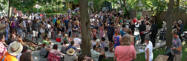 Johnny Blazes performs at the 2015 Jamaica Plain Porchfest. (Courtesy Dominic Burdock)