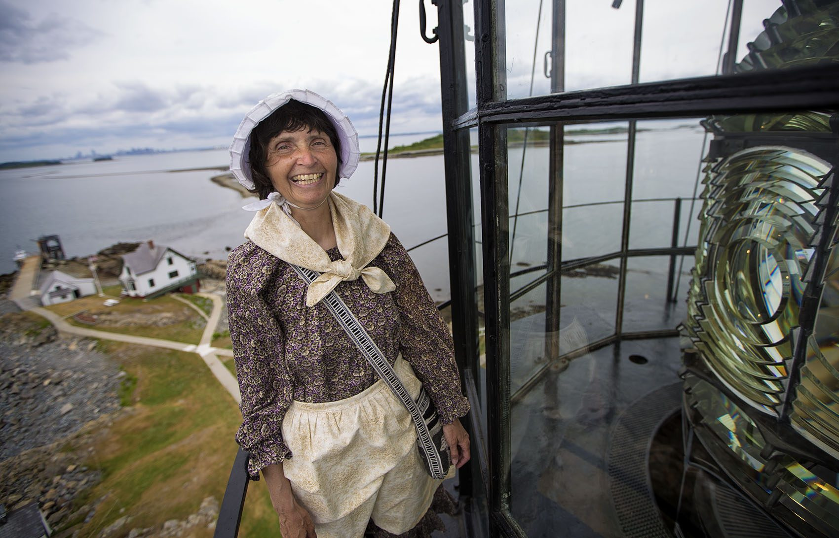 Sally Snowman, atop Boston Light, is the sole resident lighthouse keeper in the United States. (Jesse Costa/WBUR)