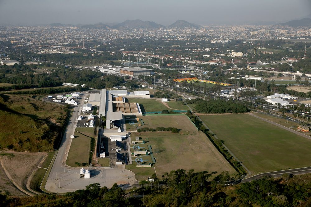 Work continues at the Olympic Shooting Center at Deodoro in preparation for the 2016 Olympic Games on July 4, 2016 in Rio de Janeiro, Brazil.  (Matthew Stockman/Getty Images)