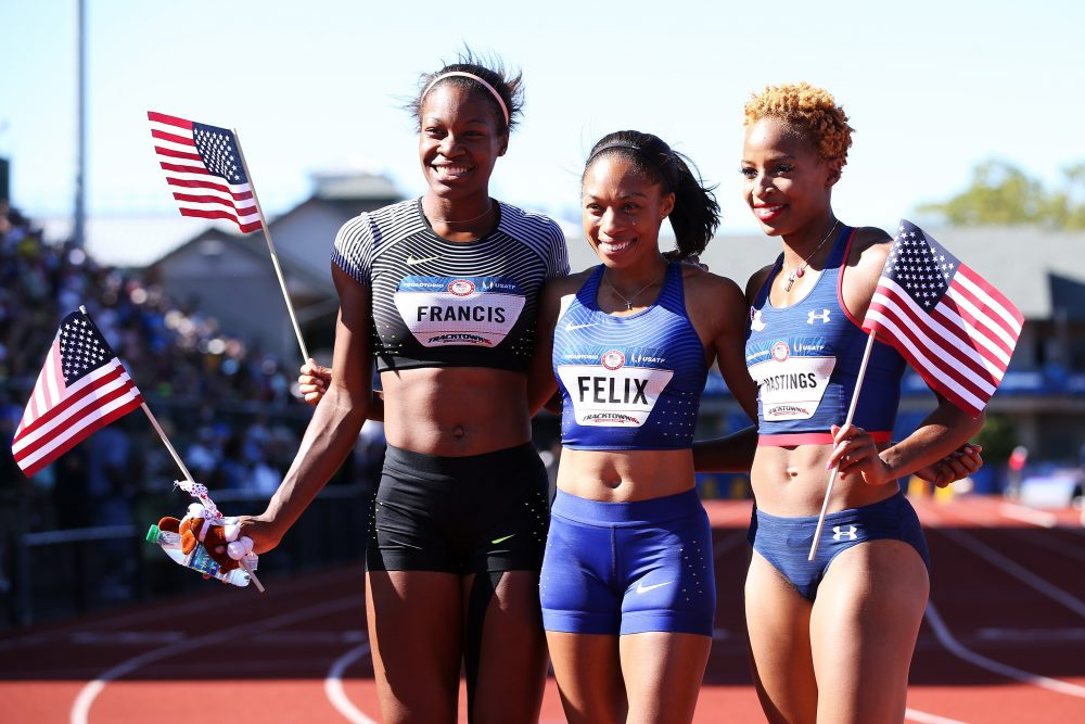 Allyson Felix, first, Phyllis Francis, second, and Natasha Hastings, third, pose together after the Women's 100 Meter Final during the 2016 U.S. Olympic Track & Field Team Trials at Hayward Field on July 3, 2016 in Eugene, Oregon.  (Andy Lyons/Getty Images)