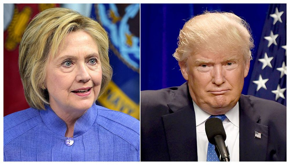 This combination of file photos shows Democratic presidential candidate Hillary Clinton on June 15, 2016 and presumptive Republican presidential nominee Donald Trump on June 13, 2016. (DSK/AFP/Getty Images)