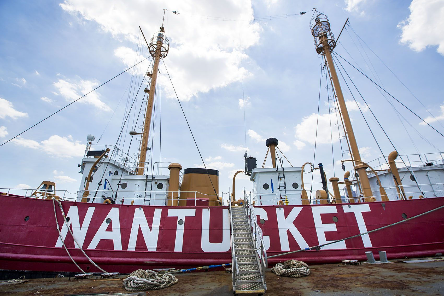 The Nantucket Lightship docked in East Boston. (Jesse Costa/WBUR)