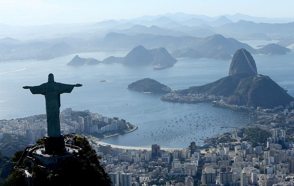 Aerial view of Christ the Redeemer, Flamengo Beach, the Sugar Loaf and Guanabara Bay with nearly one year to go to the Rio 2016 Olympic Games on July 21, 2015 in Rio de Janeiro, Brazil.   Matthew Stockman/Getty Images)