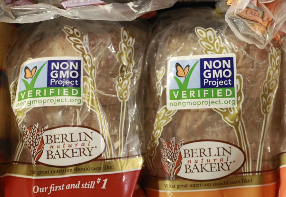 Products labeled with Non Genetically Modified Organism (GMO) are sold at the Lassens Natural Foods & Vitamins store in Los Feliz district of Los Angeles.  (AP Photo/Damian Dovarganes, File)