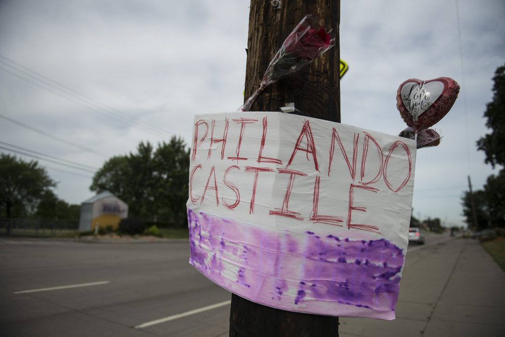 A memorial left for Philando Castile following the police shooting death of a black man on July 7, 2016 in St. Paul, Minnesota. (Stephen Maturen/Getty Images)