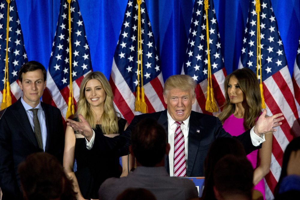 Republican presidential candidate Donald Trump is joined by his wife Melania, daughter Ivanka and son-in-law Jared Kushner as he speaks during a news conference at the Trump National Golf Club Westchester, Tuesday, June 7, 2016, in Briarcliff Manor, N.Y. (AP Photo/Mary Altaffer)