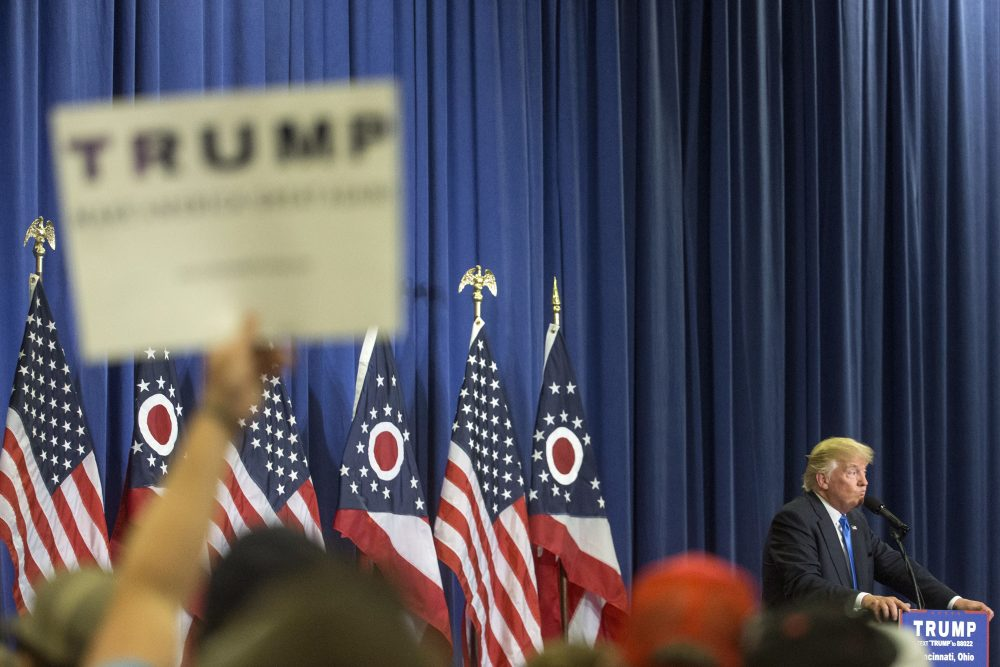 Republican presidential candidate Donald Trump speaks during a campaign rally at the Sharonville Convention Center, Wednesday, July 6, 2016, in Cincinnati. (John Minchillo/AP)