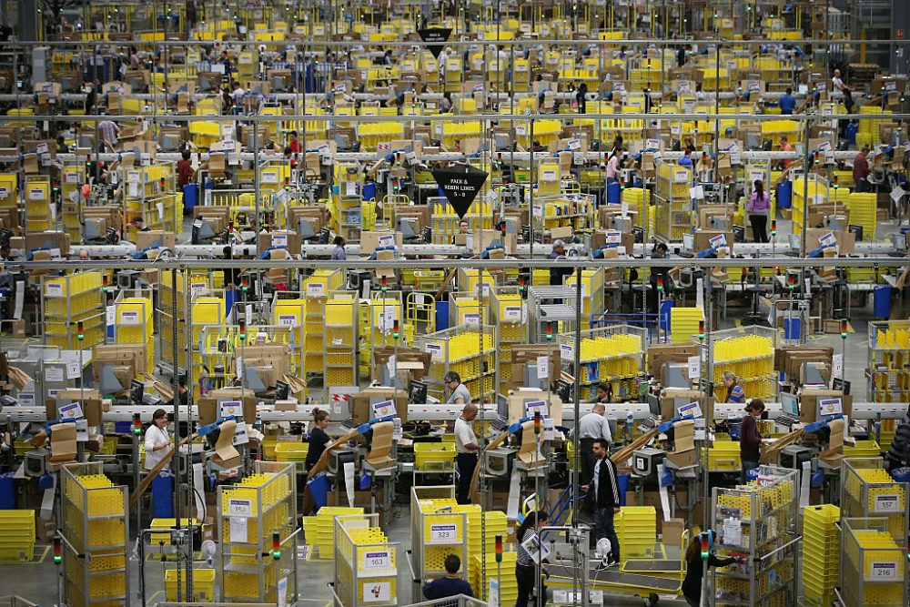 Parcels are prepared for dispatch at Amazon's warehouse on December 5, 2014 in Hemel Hempstead, England.  (Peter Macdiarmid/Getty Images)
