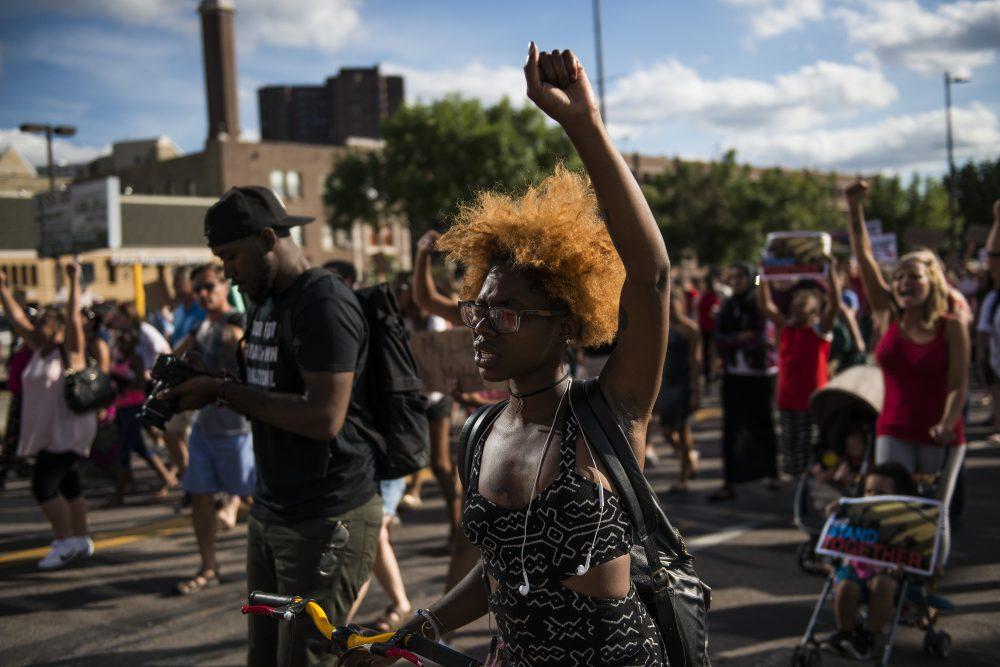 Activists protest the death of Philando Castile on July 8, 2016 in downtown Minneapolis, Minnesota. Castile was shot and killed by police on July 6, 2016 in Falcon Heights, Minnesota. (Stephen Maturen/Getty Images)