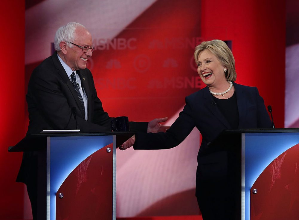 Democratic presidential candidates former Secretary of State Hillary Clinton and U.S. Sen. Bernie Sanders shake hands during their MSNBC Democratic Candidates Debate at the University of New Hampshire on February 4, 2016 in Durham, New Hampshire. (Justin Sullivan/Getty Images)