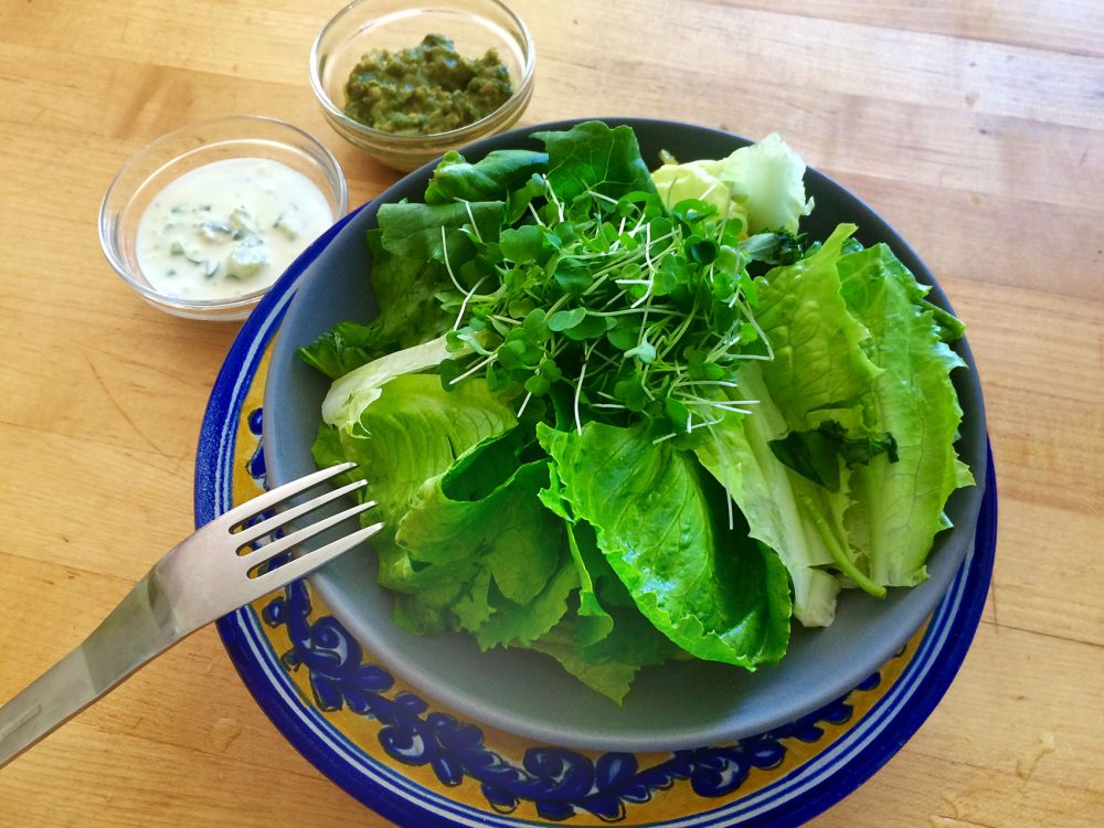 Garden romaine lettuce with Kathy's buttermilk blue cheese dressing (top left) and pesto dressing (top right) on side. (Kathy Gunst for Here & Now)