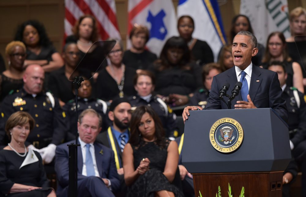 US President Barack Obama speaks during an interfaith memorial service for the victims of the Dallas police shooting at the Morton H. Meyerson Symphony Center on July 12, 2016 in Dallas, Texas. (MANDEL NGAN/AFP/Getty Images)