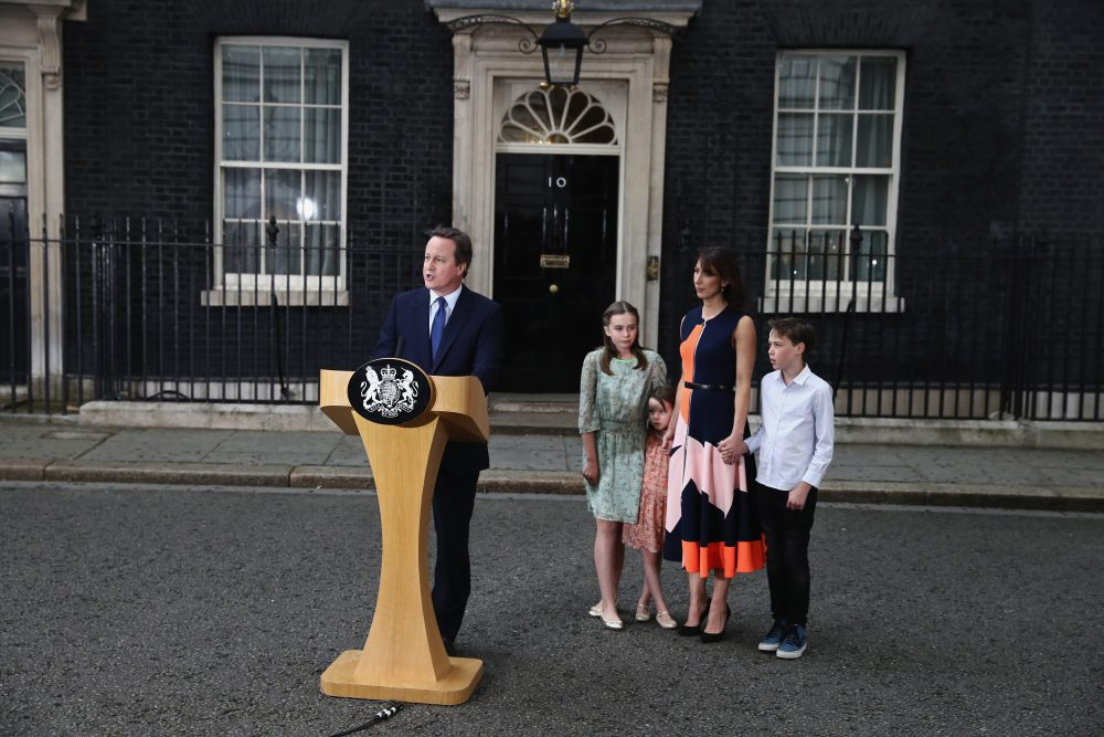 Prime Minister David Cameron leaves Downing Street for the last time with his wife Samantha Cameron and children Nancy Cameron, Arthur Cameron and Florence Cameron on July 13, 2016 in London, England. (Carl Court/Getty Images)