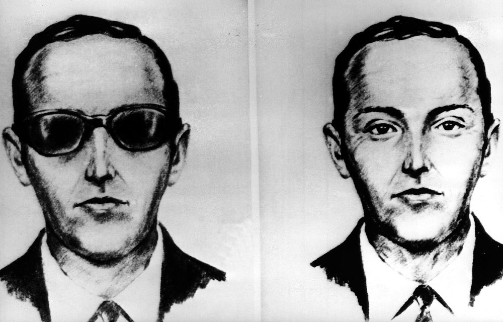 An undated artist's sketch shows the skyjacker known as D.B. Cooper from recollections of the passengers and crew of a Northwest Airlines jet he hijacked between Portland and Seattle on Thanksgiving eve in 1971. (AP)