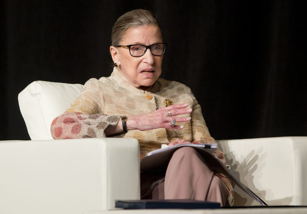 Supreme Court Justice Ruth Bader Ginsburg takes part in a conference in Saratoga Springs, N.Y. on May 26, 2016. (Mike Groll/AP)