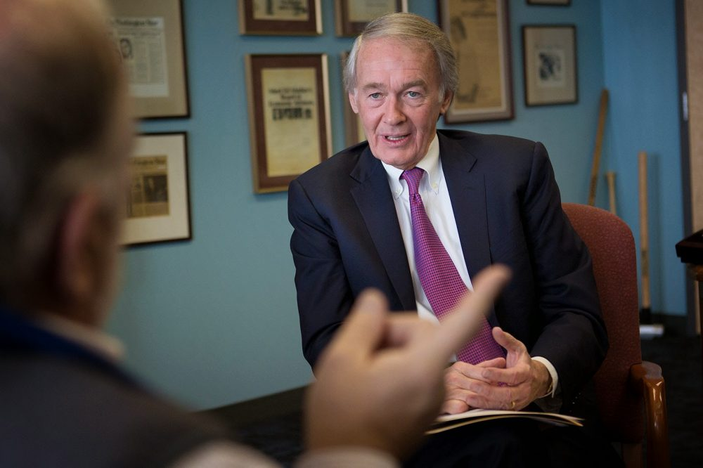 U.S. Senator Edward Markey speaks to Bob Oakes in his office in Boston in 2015. (Jesse Costa/WBUR)