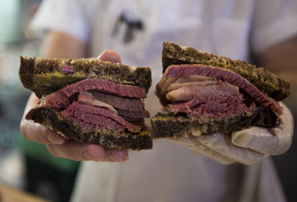 """A close up of the """"No. 2"""" at Mamaleh's Delicatessen -- hot corned beef on rye with mustard. (Jesse Costa/WBUR)"""