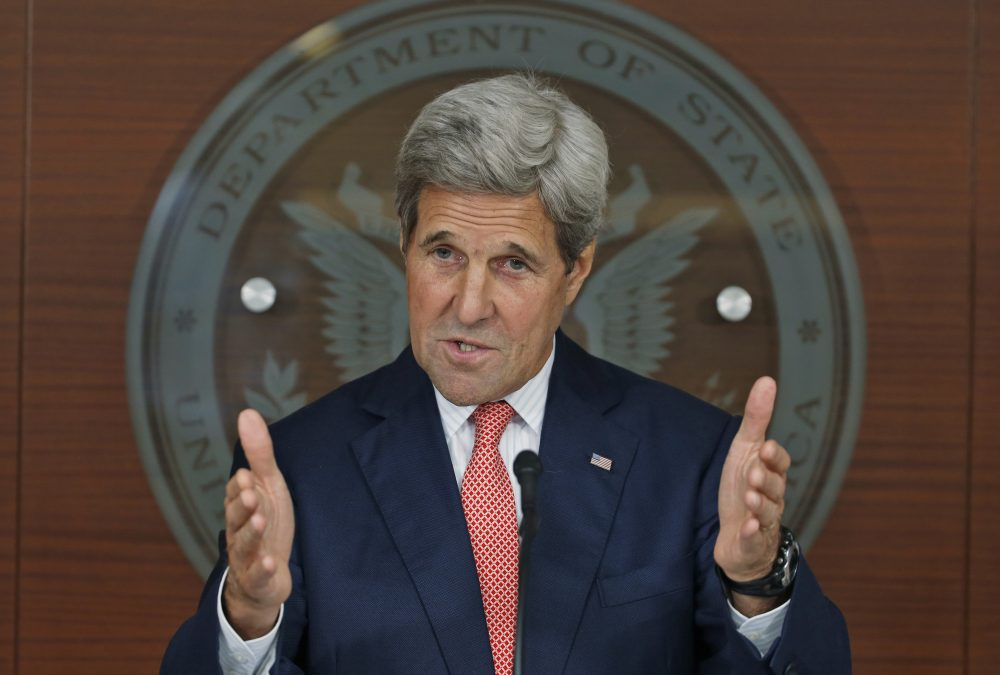 In this July 12, 2016, photo, Secretary of State John Kerry speaks at the Washington Passport Agency in Washington. Frustrated by months of failure in Syria, the U.S. is taking what might be its final offer to Russia. (Alex Brandon/AP)