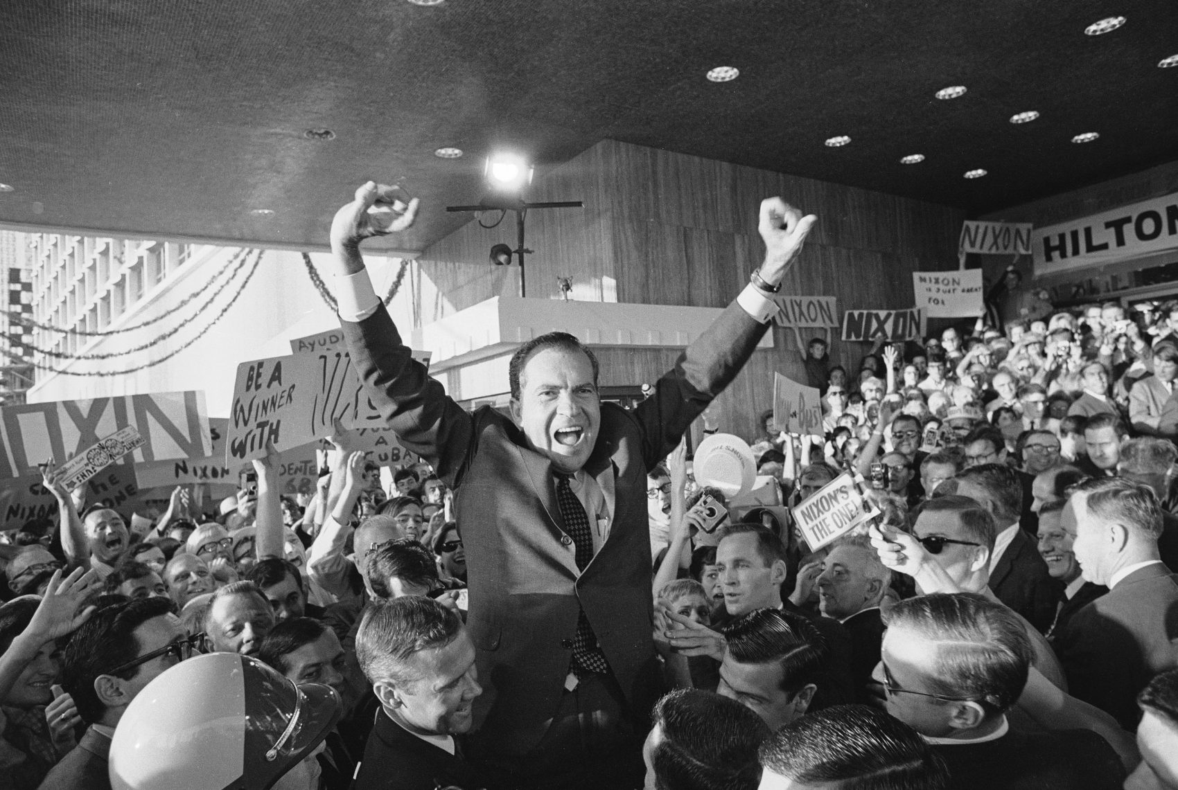 Richard Nixon makes his first public appearance at the Republican National Convention in Miami Beach on Aug. 5, 1968. (AP Photo)